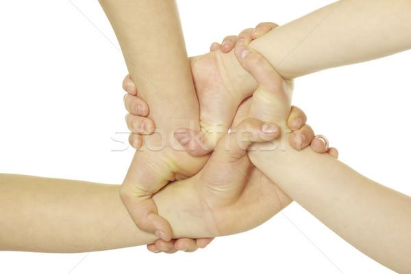 Mãos anel isolado branco rede grupo Foto stock © Pakhnyushchyy