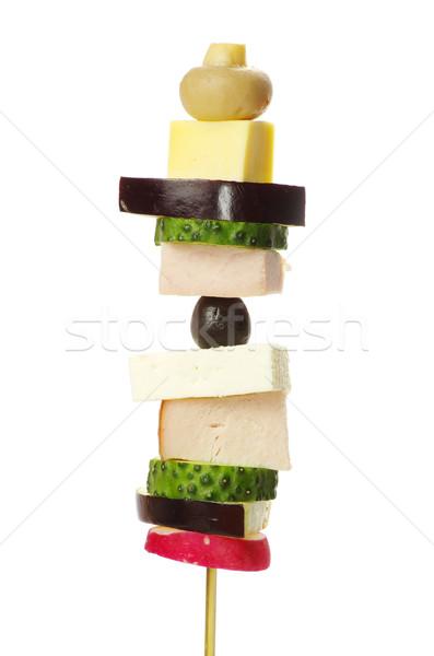 Saláta hal gyümölcs zöld kenyér eszik Stock fotó © Pakhnyushchyy