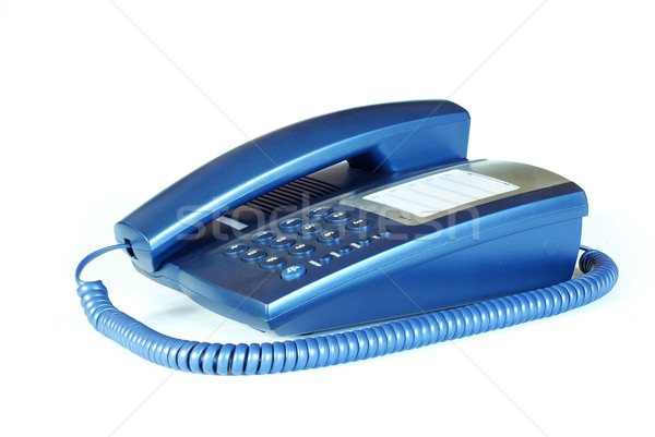 Teléfono azul oficina blanco mesa cable Foto stock © Pakhnyushchyy