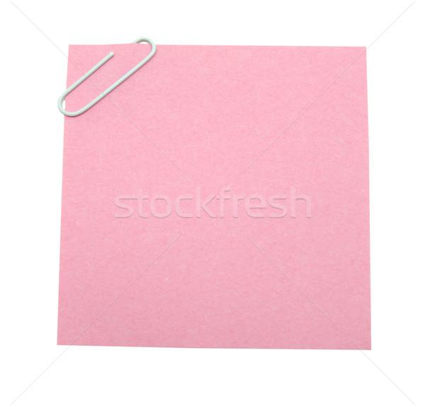 Levélpapír piros gemkapocs izolált fehér papír Stock fotó © Pakhnyushchyy