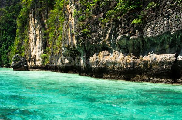 Tropisch eiland landschap water oceaan groene boot Stockfoto © Pakhnyushchyy