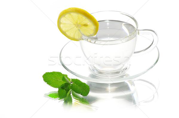 Folha de limão vidro fundo Foto stock © Pakhnyushchyy