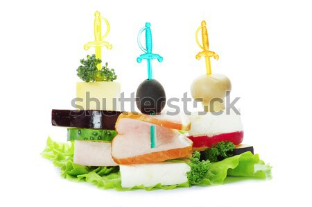 Saláta fehér háttér étel hal levél Stock fotó © Pakhnyushchyy