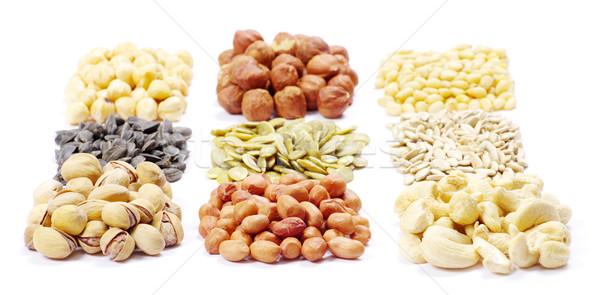 Zaden noten collectie gezondheid witte grond Stockfoto © Pakhnyushchyy