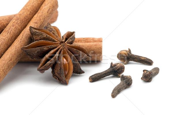 Anis canela isolado branco comida Foto stock © Pakhnyushchyy