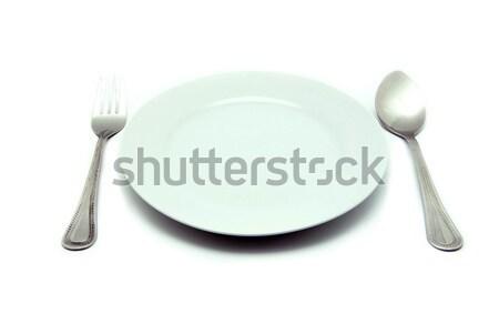 Plaats mes vork witte plaat Stockfoto © Pakhnyushchyy
