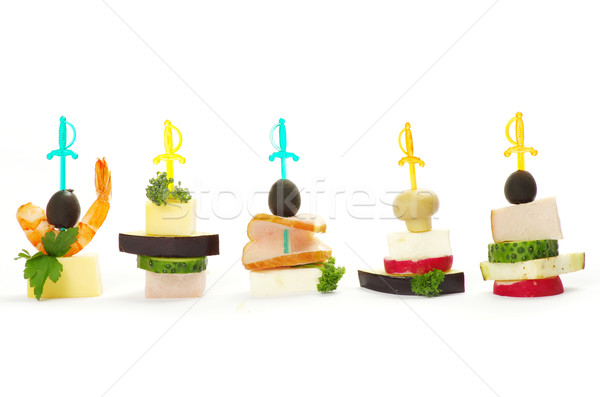 Photo stock: Salade · olives · fromages · blanche · poissons