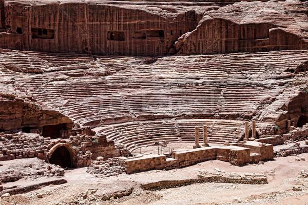 Jordanië oude tempel hemel boom muur Stockfoto © Pakhnyushchyy
