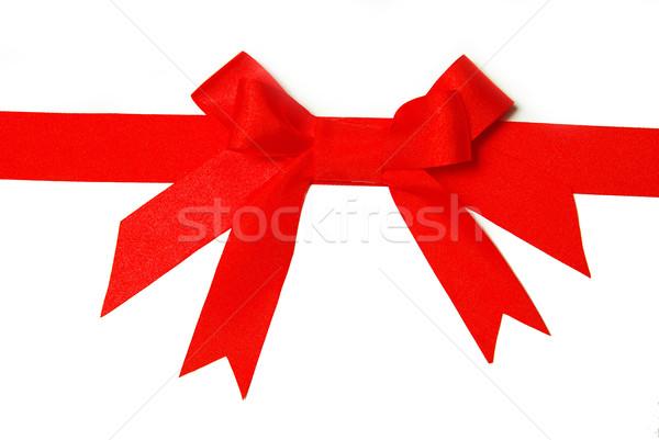 Kırmızı tatil yay beyaz kâğıt uzay Stok fotoğraf © Pakhnyushchyy