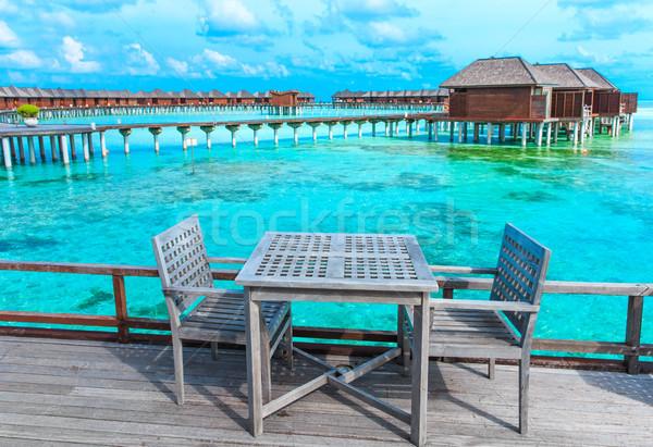 Plaj tropikal plaj az palmiye ağaçları mavi manzara Stok fotoğraf © Pakhnyushchyy