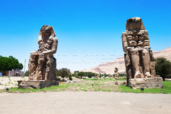 two massive stone statues of Pharaoh Amenhotep III Stock photo © Pakhnyushchyy