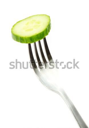 Pepino tenedor frescos ensalada blanco comer Foto stock © Pakhnyushchyy