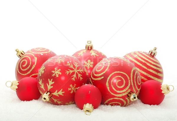Karácsony dekoráció fehér háttér terv hó Stock fotó © Pakhnyushchyy