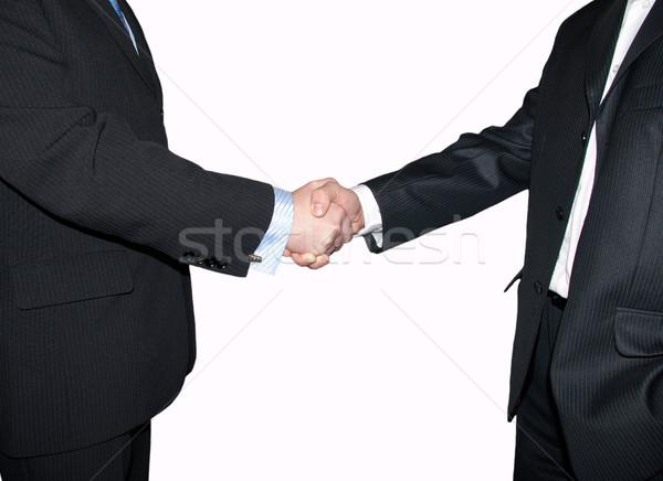 Handshake mężczyzn drżenie rąk szary pracy garnitur Zdjęcia stock © Pakhnyushchyy