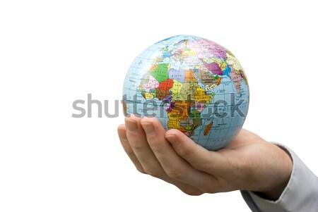Stock fotó: Világ · földgömb · emberi · kezek · fehér · kéz
