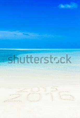 Tropikalnej plaży palm niebieski wody krajobraz Zdjęcia stock © Pakhnyushchyy