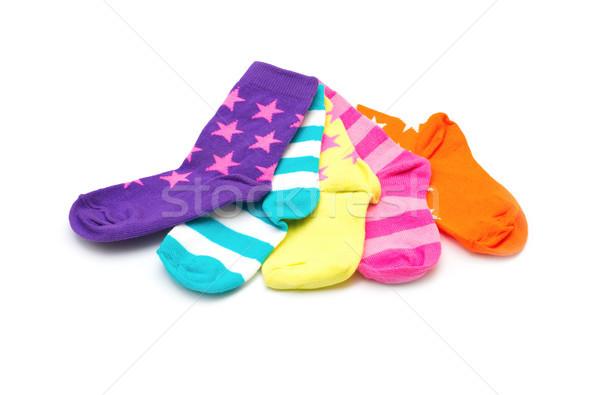 Kleurrijk sokken geïsoleerd witte kleur kleding Stockfoto © Pakhnyushchyy