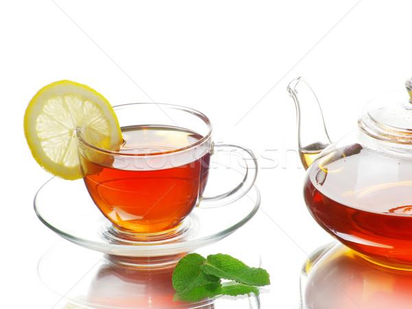 Tea üveg csésze narancs zöld ital Stock fotó © Pakhnyushchyy