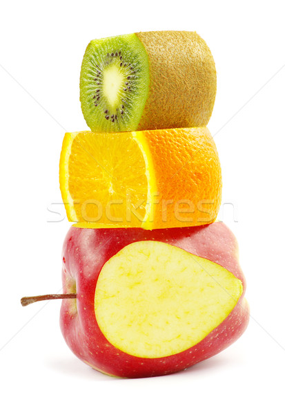 Gyümölcs mix izolált fehér étel alma zöld Stock fotó © Pakhnyushchyy