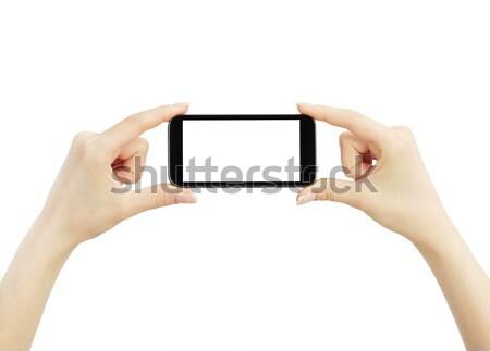 ストックフォト: 手 · ビッグ · タッチスクリーン · スマートフォン