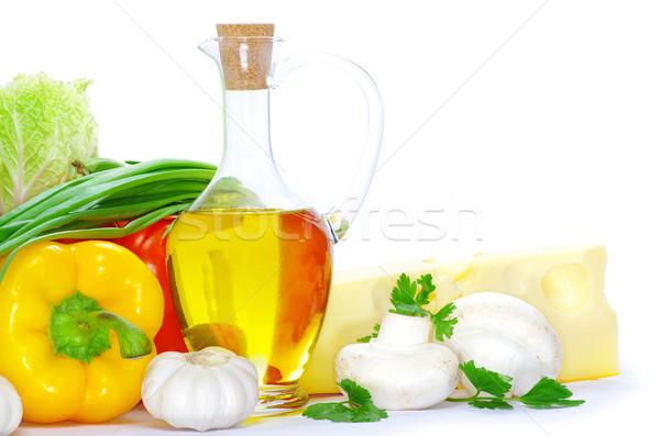 Plantaardige geïsoleerd witte voedsel groene kaas Stockfoto © Pakhnyushchyy
