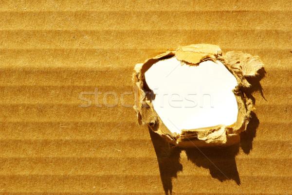 穴 ブラウン 段ボール 平らでない 紙 スペース ストックフォト © Pakhnyushchyy