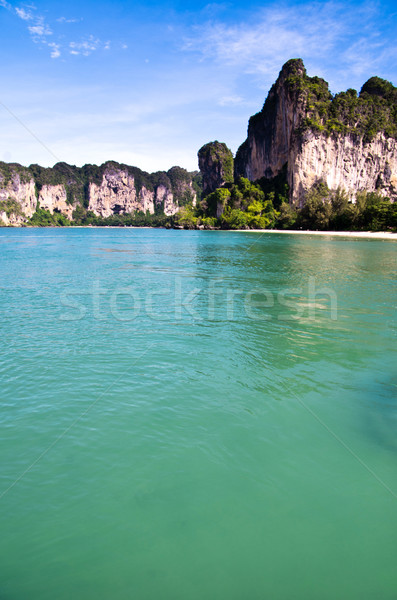 Roches mer krabi plage ciel herbe Photo stock © Pakhnyushchyy