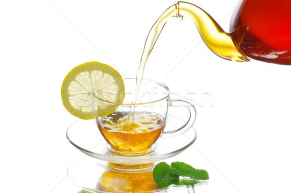 Teáscsésze tea üveg ital csésze forró Stock fotó © Pakhnyushchyy