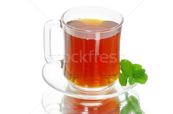 Chá folha de vidro fundo Foto stock © Pakhnyushchyy