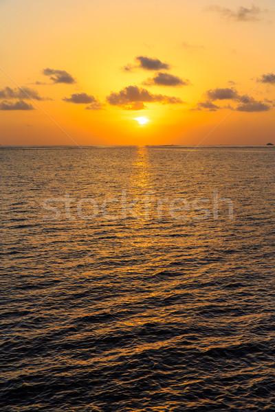 Gün batımı deniz plaj gökyüzü doğa seyahat Stok fotoğraf © Pakhnyushchyy