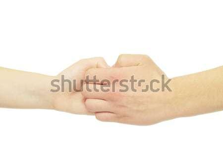 Eller adam kadın yalıtılmış beyaz aile Stok fotoğraf © Pakhnyushchyy