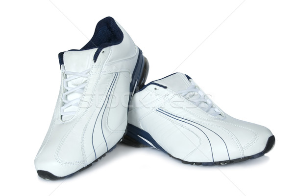 Chaussures de course paire blanche gymnase chaussures formation Photo stock © Pakhnyushchyy