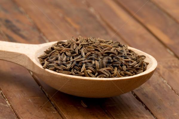 Kömény magok fakanál fűszer gyógynövény barna Stock fotó © Pakhnyushchyy