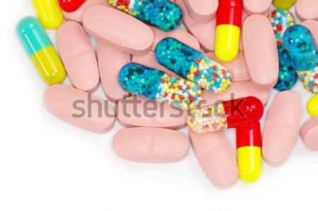 Stock fotó: Tabletták · izolált · fehér · textúra · háttér · gyógyszer