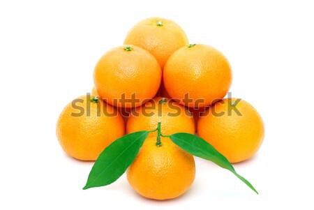 Mandarijn geïsoleerd witte vruchten oranje leven Stockfoto © Pakhnyushchyy