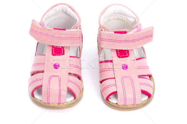 Roze sandalen geïsoleerd witte mode kinderen Stockfoto © Pakhnyushchyy