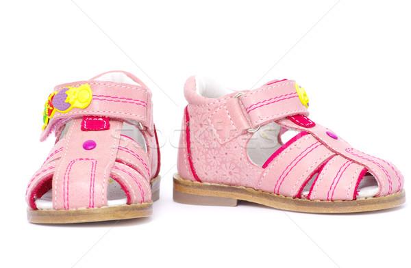 Sandalen roze geïsoleerd witte mode kinderen Stockfoto © Pakhnyushchyy