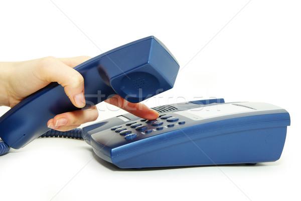 Telefonu biuro telefon biały tabeli kabel Zdjęcia stock © Pakhnyushchyy