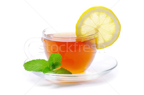 Chá folha de limão isolado Foto stock © Pakhnyushchyy