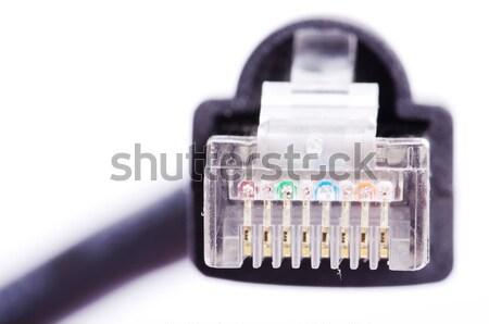 Kabel macro shot netwerk verbinding plug Stockfoto © Pakhnyushchyy