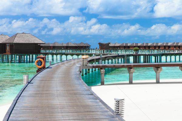 Plage plage tropicale palmiers bleu ciel Photo stock © Pakhnyushchyy