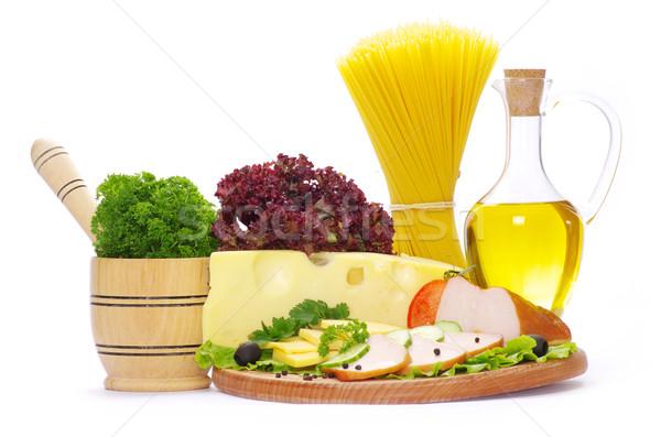 Pasta ingredienti isolato bianco alimentare olio Foto d'archivio © Pakhnyushchyy