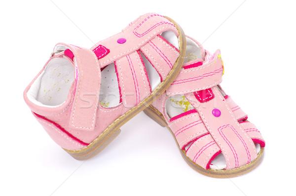 Sandálias rosa isolado branco moda crianças Foto stock © Pakhnyushchyy