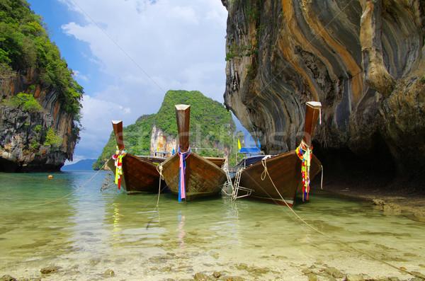 Tropical beach, longtail boats Stock photo © Pakhnyushchyy