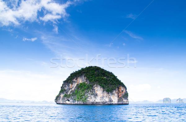 Тропический остров пейзаж воды океана зеленый лодка Сток-фото © Pakhnyushchyy