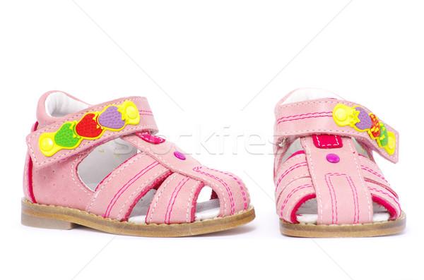 Szandál rózsaszín izolált fehér divat gyerekek Stock fotó © Pakhnyushchyy