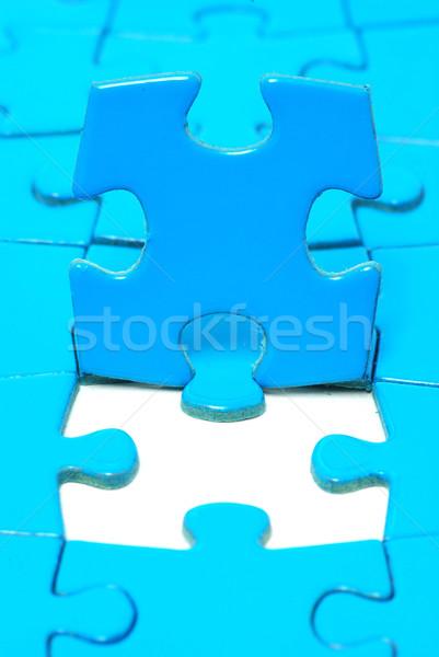 Puzzel Blauw texturen werken links objecten Stockfoto © Pakhnyushchyy
