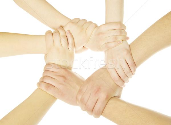 рук кольца изолированный белый сеть группа Сток-фото © Pakhnyushchyy