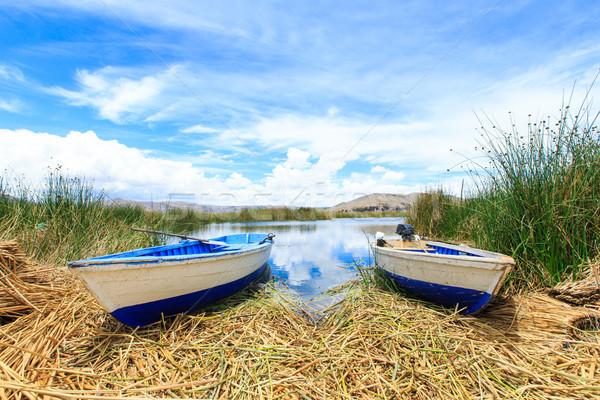 Göl tekne gökyüzü ev doğa manzara Stok fotoğraf © Pakhnyushchyy