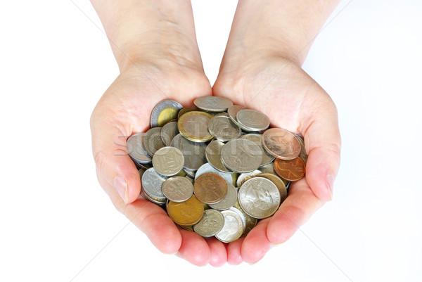 Münzen Hände halten isoliert weiß Geld Stock foto © Pakhnyushchyy